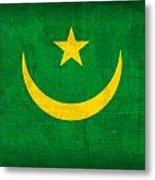 Mauritania Flag Vintage Distressed Finish Metal Print