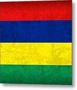 Mauritius Flag Vintage Distressed Finish Metal Print