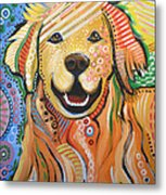 Max ... Abstract Dog Art...golden Retriever Metal Print