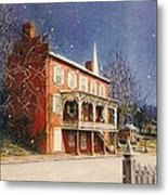 May House In Winter Metal Print by Melodye Whitaker