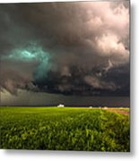 May Thunderstorm - Storm Twists Over House On Colorado Plains Metal Print