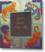 Mayan Jaguar Frame Metal Print by Charles Lucas