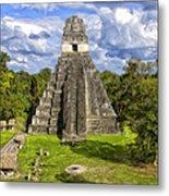 Mayan Temple At Tikal Metal Print