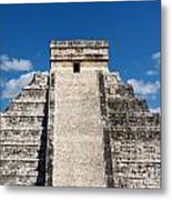 Mayan Temple Pyramid At Chichen Itza Metal Print