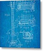 Mccarty Gibson Les Paul Guitar Patent Art 1955 Blueprint Metal Print