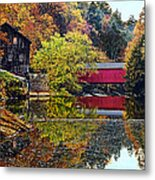 Mcconnell's Mill And Covered Bridge Metal Print