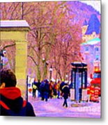 Mcgill Campus Eager Students Enter Roddick Gates Montreal Collectible Art Prints Carole Spandau  Metal Print