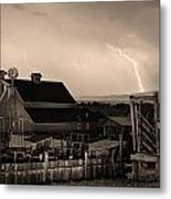 Mcintosh Farm Lightning Sepia Thunderstorm Metal Print by James BO  Insogna
