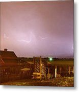 Mcintosh Farm Lightning Thunderstorm View Metal Print