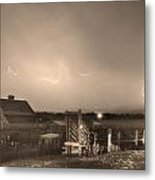 Mcintosh Farm Lightning Thunderstorm View Sepia Metal Print by James BO  Insogna