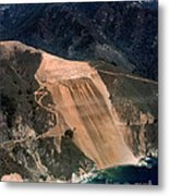 Aerial Of Mcway Landslide Big Sur California 1984 Metal Print