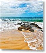 Meandering Waves On Tropical Beach Metal Print