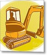 Mechanical Digger Excavator Retro Metal Print by Aloysius Patrimonio