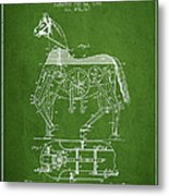 Mechanical Horse Patent Drawing From 1893 - Green Metal Print