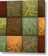 Medieval 12-tile Collage Autumn Colors Metal Print