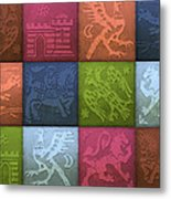 Medieval 12-tile Collage Spring Colors Metal Print