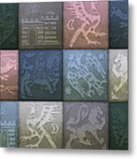 Medieval 12-tile Collage Winter Colors Metal Print