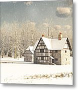 Medieval Farmhouse In Winter Snow Metal Print