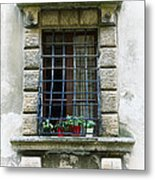 Medieval Window With Iron Grilles Metal Print