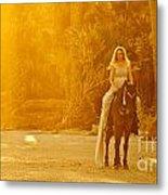 Medieval Woman On Horseback Metal Print