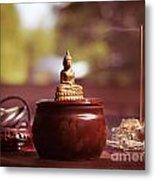 Meditating Buddha Statue Metal Print