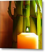 Meditation Candle And Bamboo Metal Print by Olivier Le Queinec
