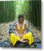 Meditation In Bamboo Forest Metal Print