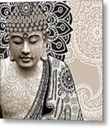 Meditation Mehndi - Paisley Buddha Artwork - Copyrighted Metal Print