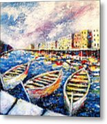 Mediterranean Port Colours Metal Print