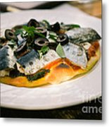 Mediterranean Sardine Pizza Metal Print