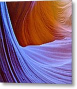 Meeting Of The Curves In Lower Antelope Canyon In Lake Powell Navajo Tribal Park-arizona  Metal Print