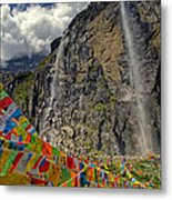 Meili Mountain Sacred Waterfall Metal Print