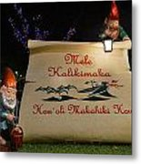 Mele Kalikimaka Sign And Elves Metal Print