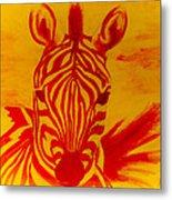 Mellow Yellow Zebra Metal Print