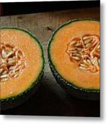 Melon Halves Metal Print