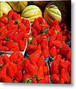 Melons And Strawberries Metal Print