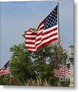 Memorial Day Flag's With Blue Sky Metal Print by Robert D  Brozek