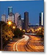 Memorial Drive And Houston Skyline Metal Print