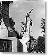 Memorial Statue Children Playing Juarez Chihuahua Mexico 1977 Black And White Metal Print