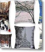 Memories Of Winter - A Collage Metal Print
