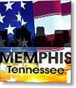 Memphis Tn Patriotic Large Cityscape Metal Print