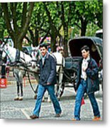 Men And Carriages In A Street Near Saint Sophia's In Istanbul-turkey Metal Print