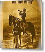 Men Wanted For The Army Poster No Date Ghost Town South Pass City Wyoming 1971 Vignetted Toned 2008 Metal Print