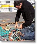 Mending The Nets Metal Print