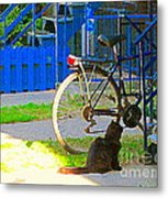 Meow Cat In Verdun Waiting By The Step Beautiful Summer Montreal Pet Lovers City Scene C Spandau Metal Print