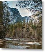Merced River And Upper Yosemite Falls Metal Print