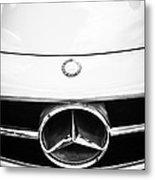 Mercedes-benz Grille Emblem -0230bw Metal Print