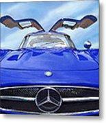 Mercedes Gullwing In Blue Metal Print