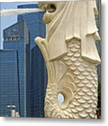 Merlion Statue By Singapore River Metal Print
