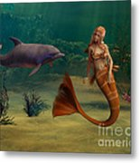 Mermaid And Dolphin Metal Print